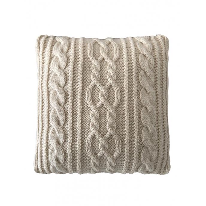 Almofada Decorativa Cheia de Tricô feita à Mão Trançada Bege 40x40cm