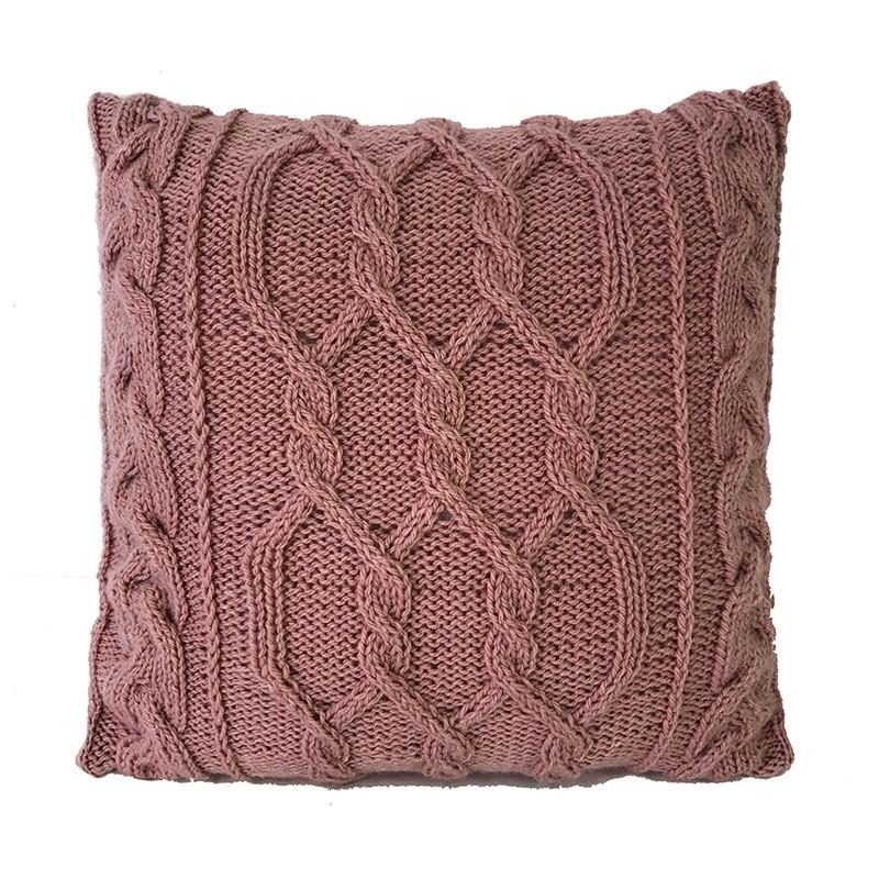 Almofada Decorativa Cheia de Tricô feita à Mão Trançada Rosé 40x40cm