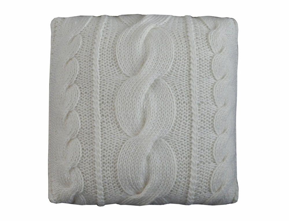 Almofada Decorativa Cheia de Tricô Pérola Trança Grande 40x40cm