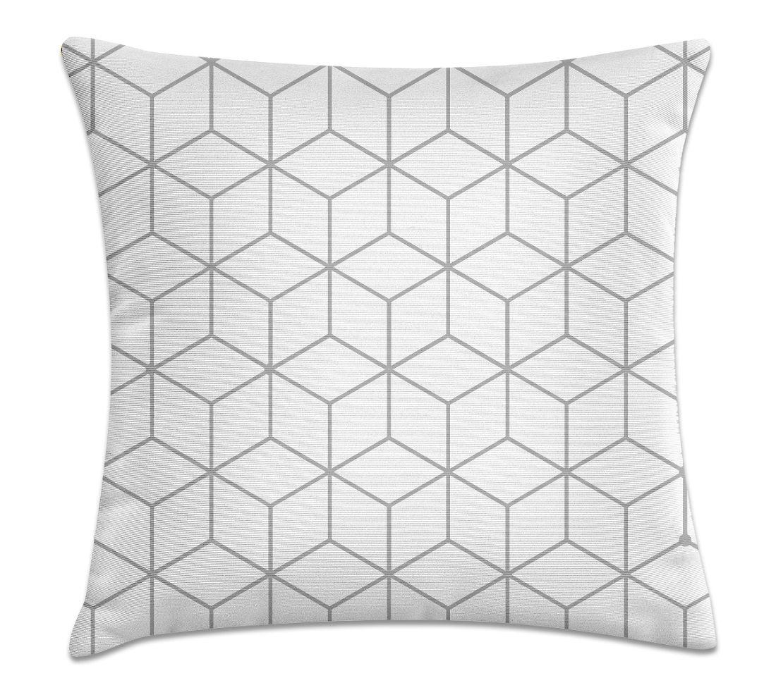 Almofada Decorativa Cheia Geométrica Branca com Zíper 40x40cm