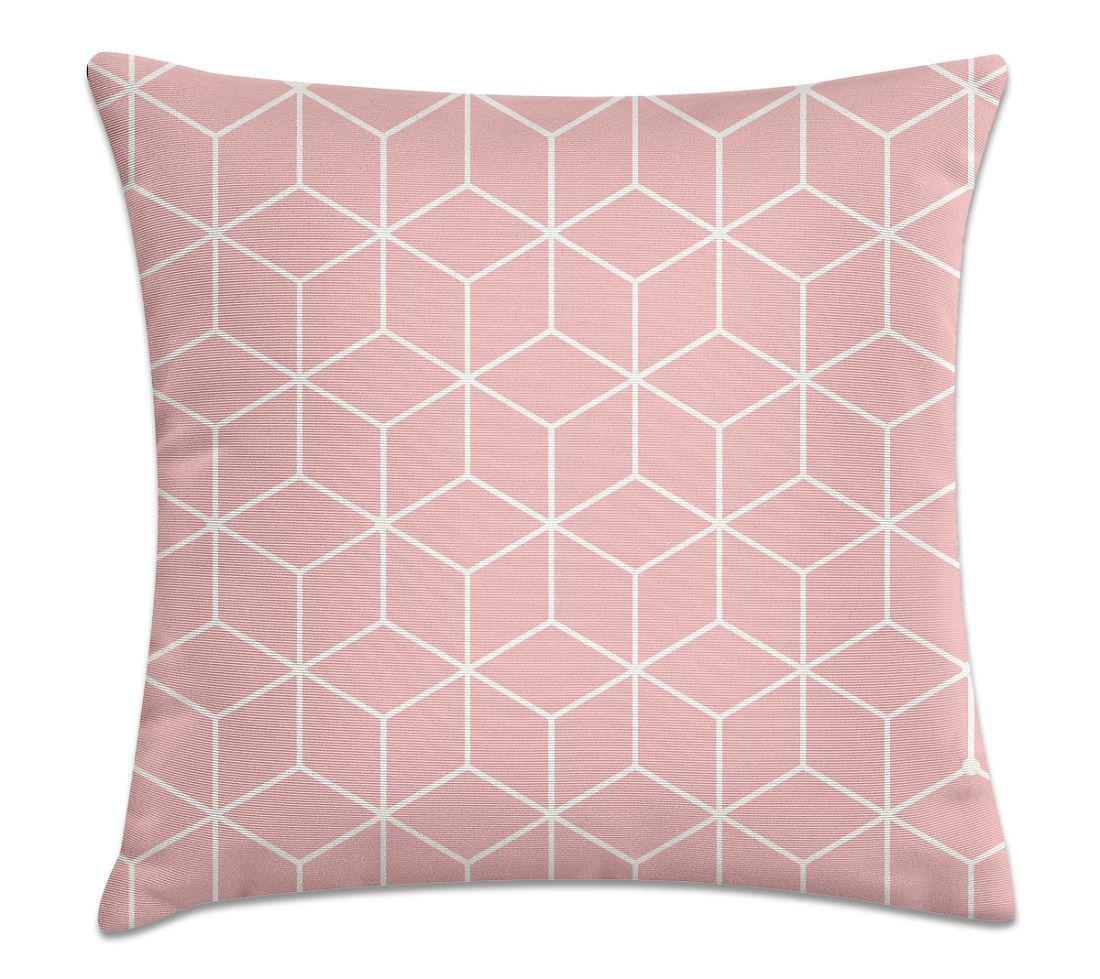 Almofada Decorativa Cheia Geométrica Rosa com Zíper 40x40cm