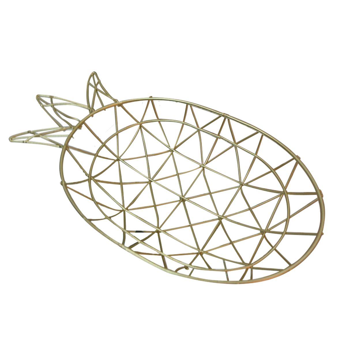 - Bandeja - Abacaxi metal dourado