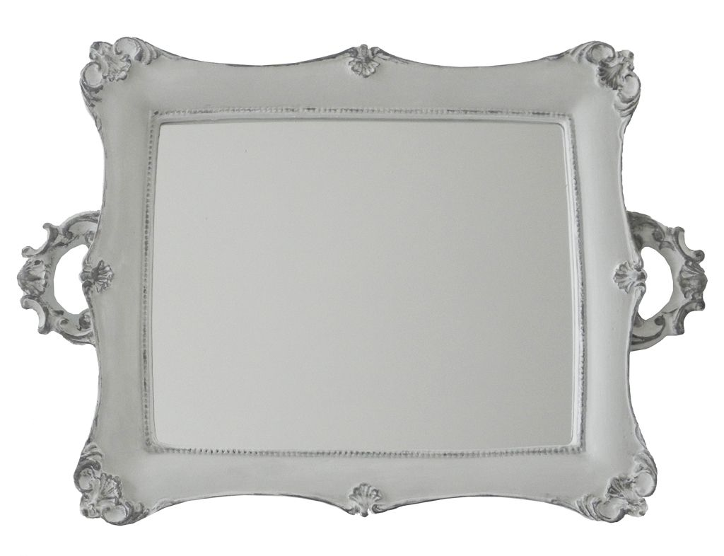 -Bandeja - Branca espelhada grande