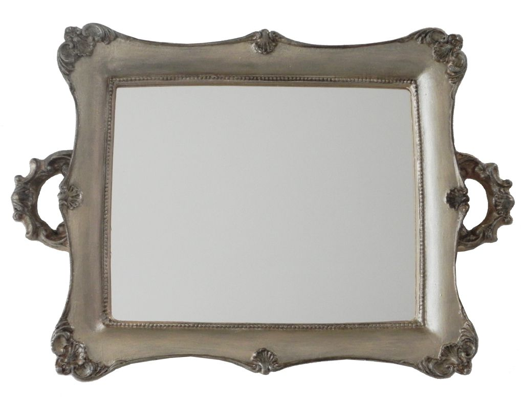 -Bandeja - Dourada espelhada grande