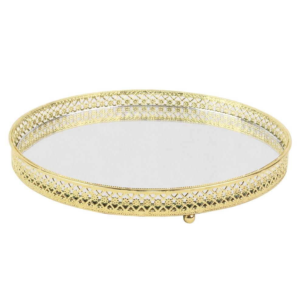 Bandeja Espelhada Redonda em Metal Dourado
