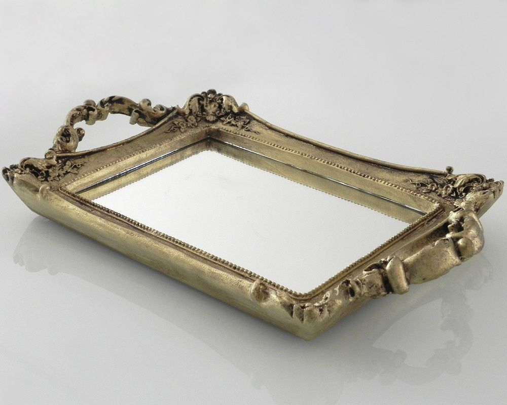 -Bandeja - Roma dourada espelhada