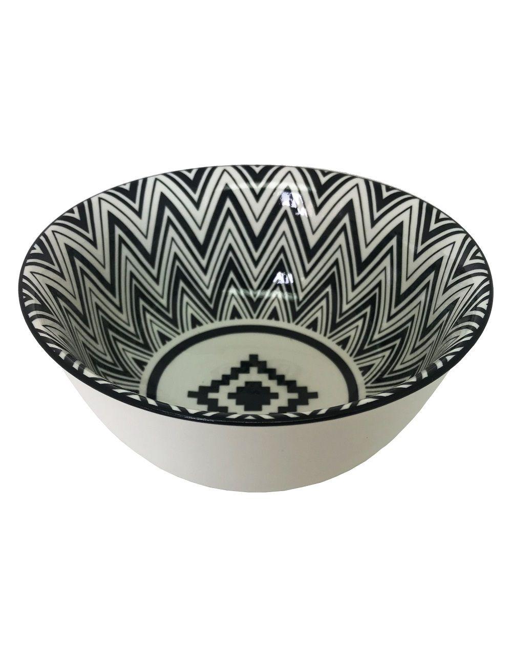 Bowl de Cerâmica Chevron Preto e Branco
