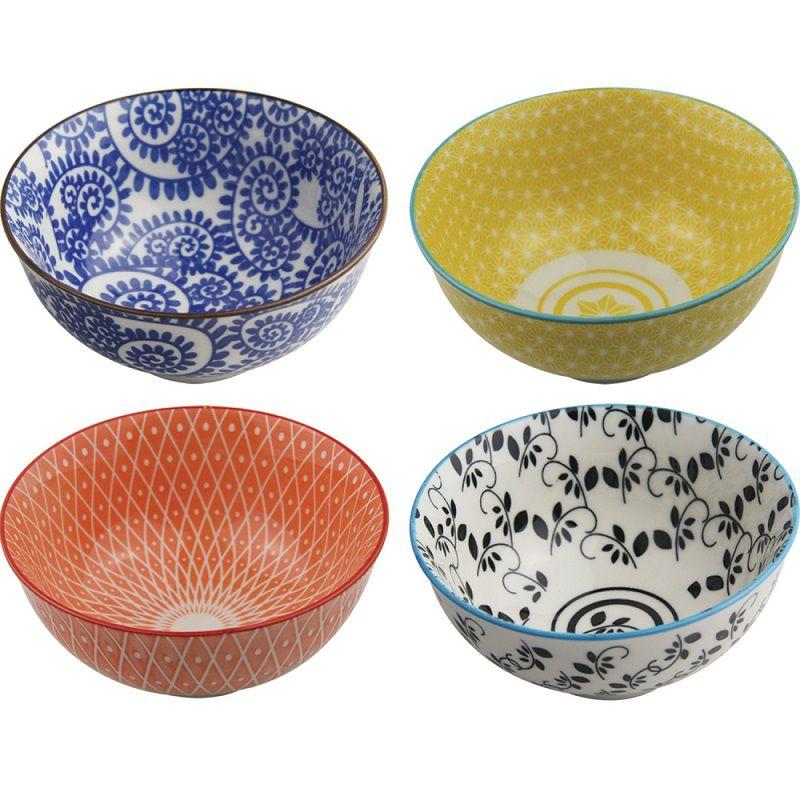 Kit Bowl de Cerâmica Colorido 4 Unidades