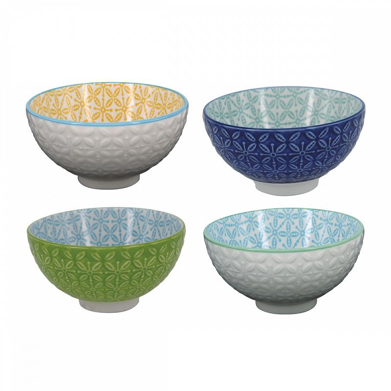 Kit Bowl de Porcelana Alto-relevo Colorido 4 Unidades