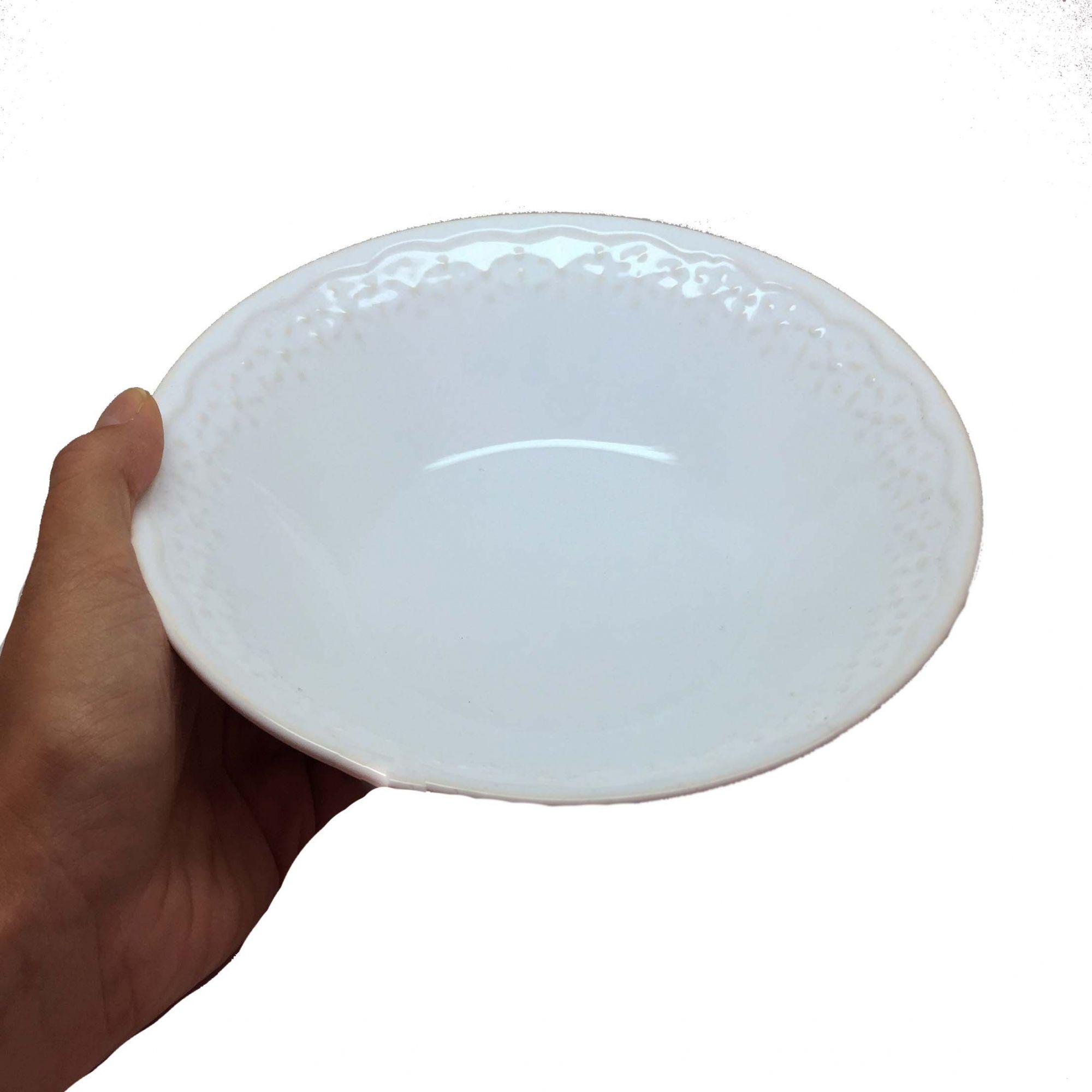 Tigela de Cerâmica Branco Clássico Grande
