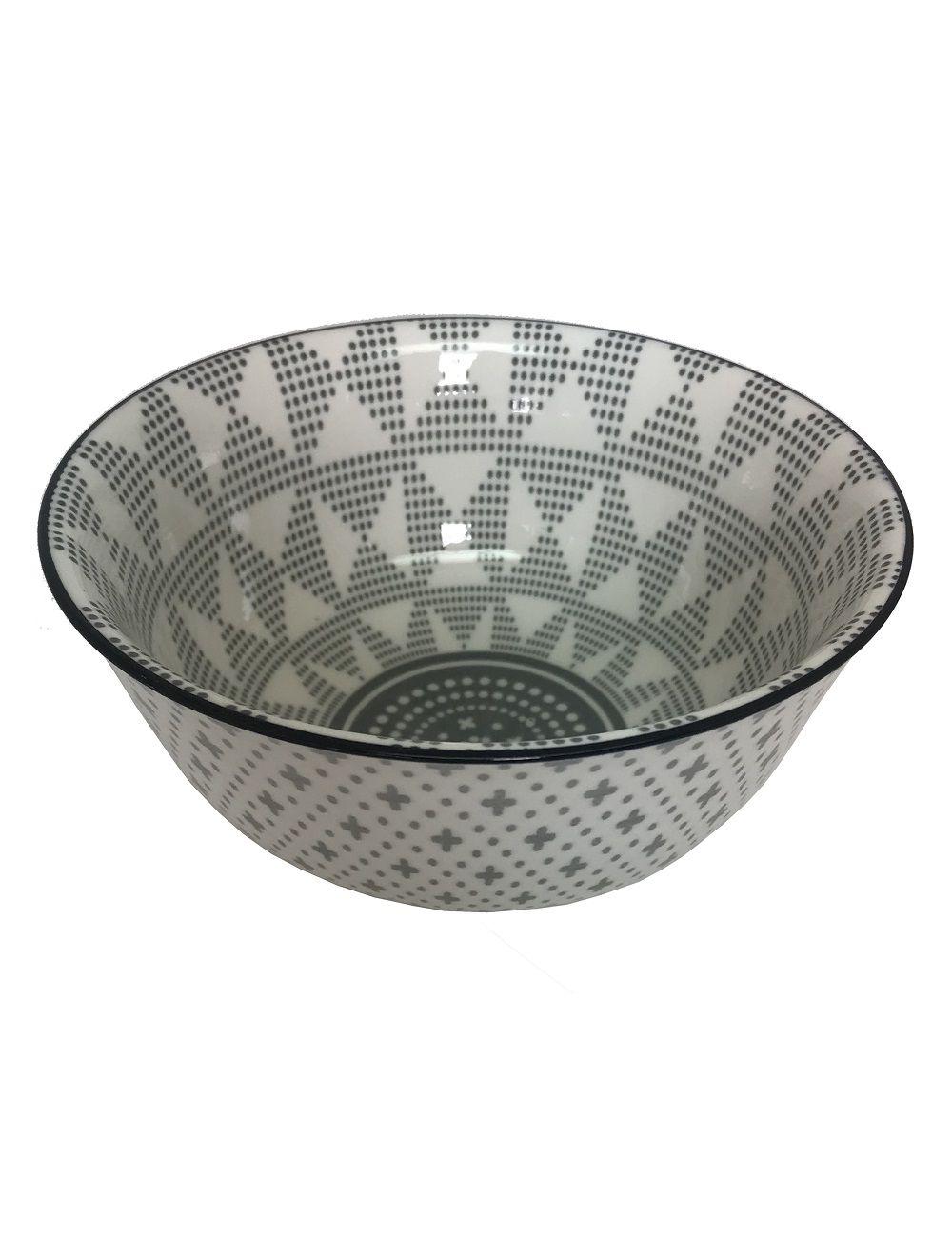 Bowl de Cerâmica Triângulos Preto e Branco