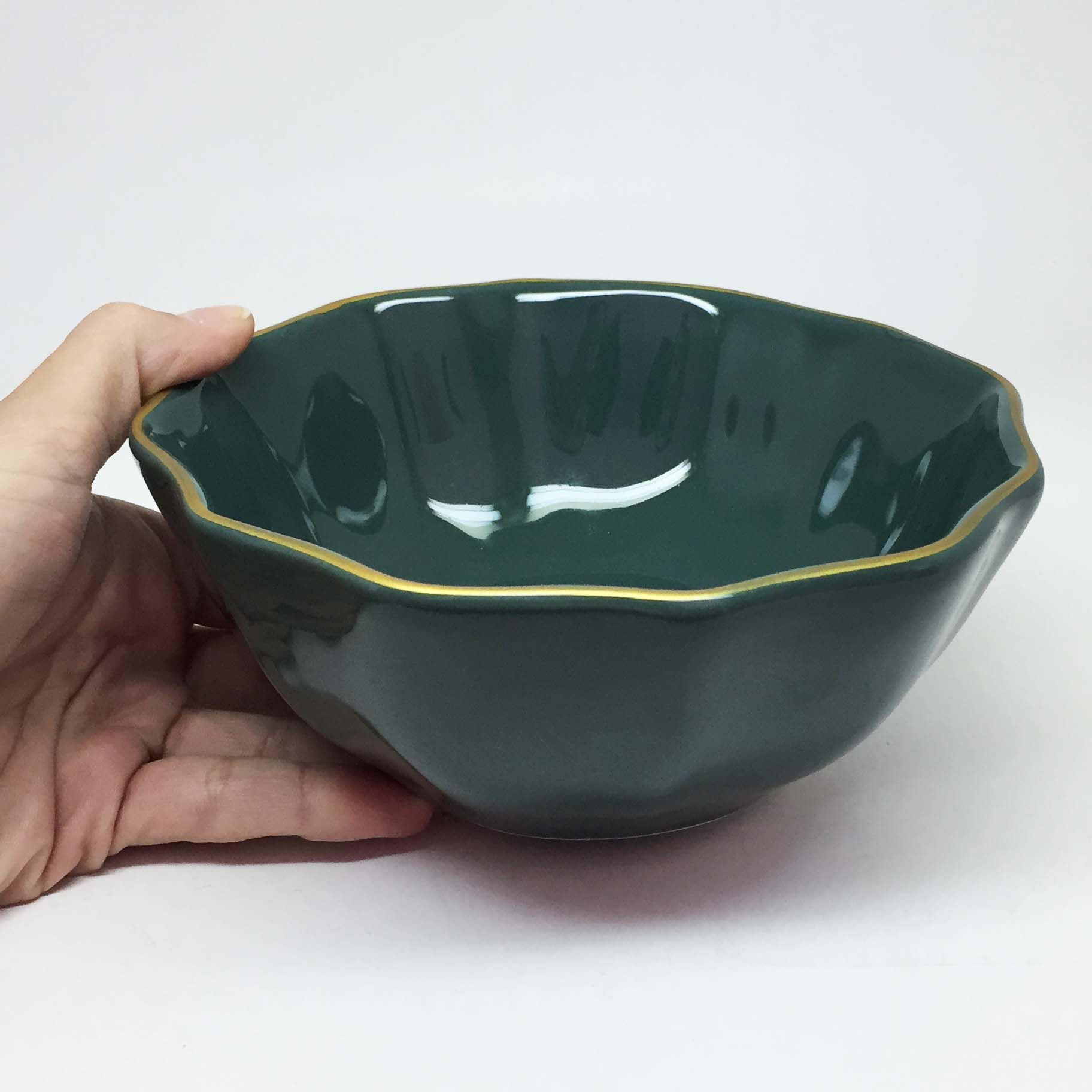 Tigela de Cerâmica Verde e Dourada Grande