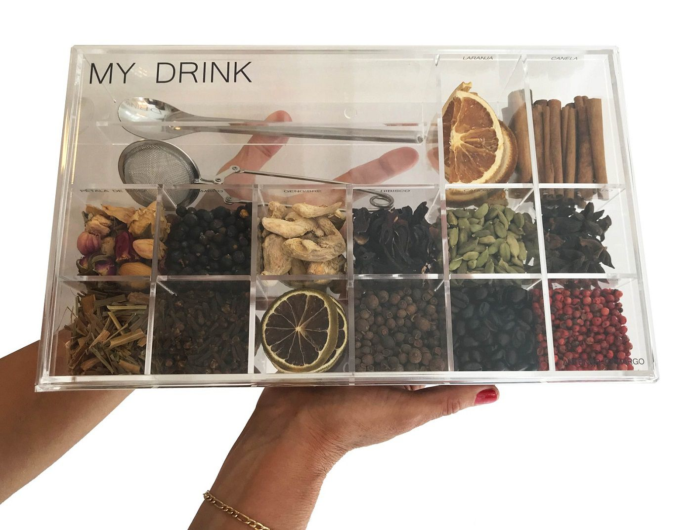 - INATIVO Caixa de Especiarias para Bebidas My Drinks Personalizada em Acrílico Grande
