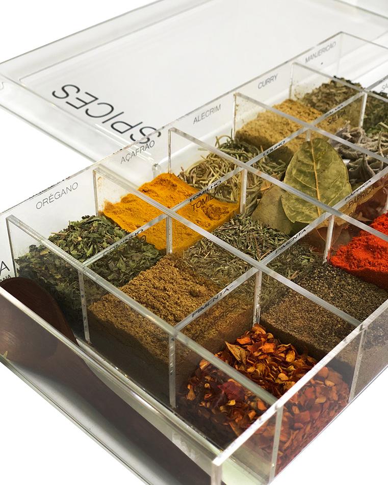Caixa de Temperos Spice Acrílico 15 Especiarias