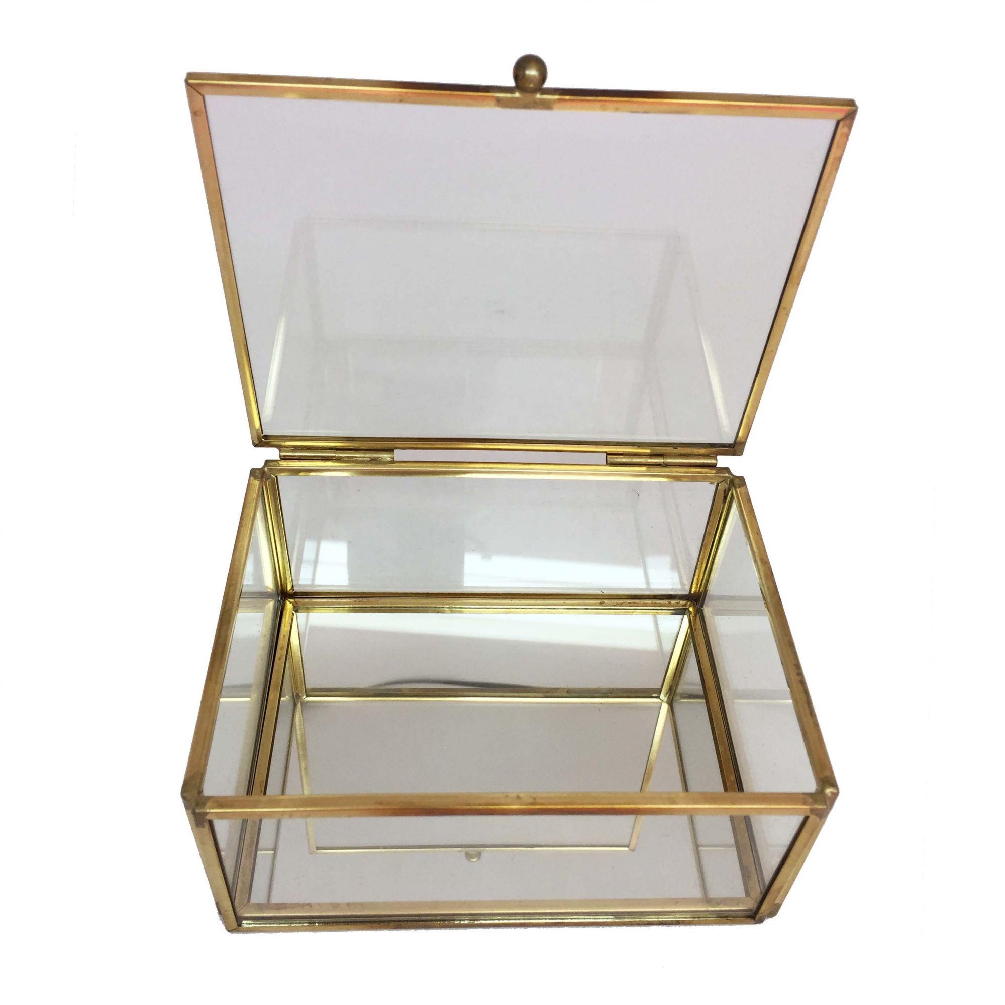 Caixa de Vidro e Espelho com Dourado Pequena