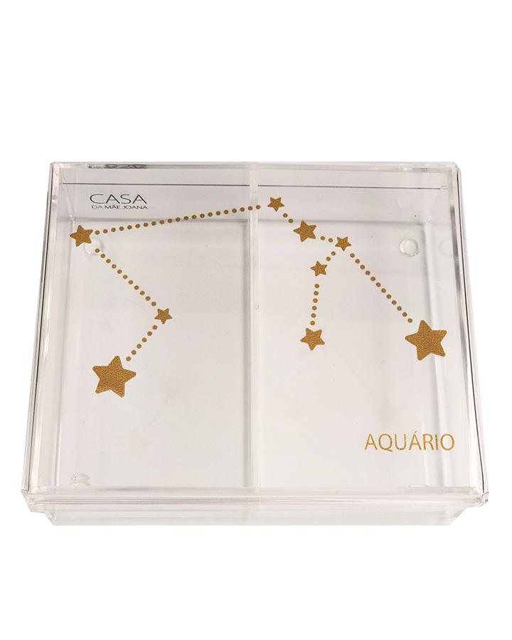 Caixa Organizadora Acrílico Constelação Signos Aquário