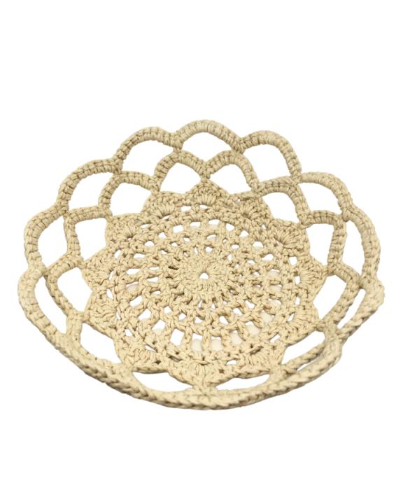 Cesto de Crochê Engomado Feito à Mão Mandala