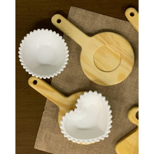 Conjunto 6 Bowls de Porcelana Bolinhas Branco