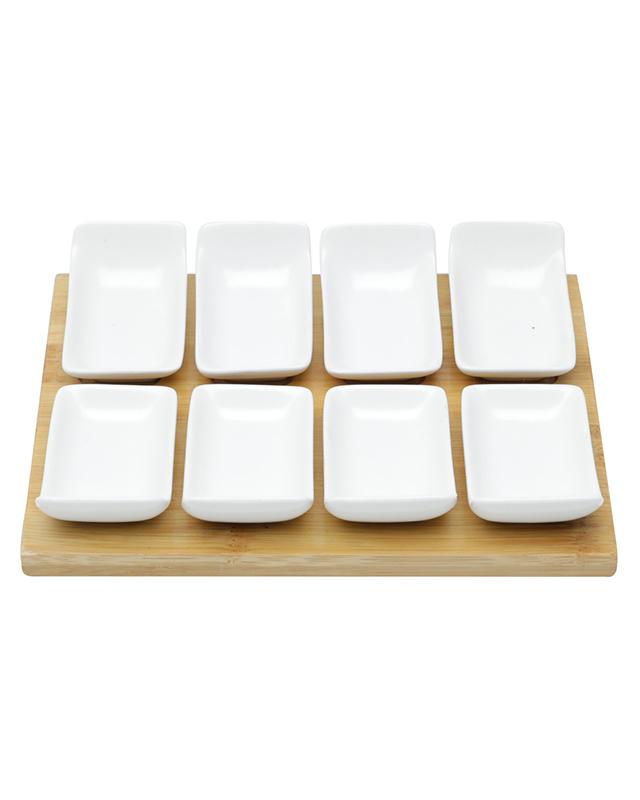 Conjunto 8 Petisqueiras Porcelana com Tábua Bambu