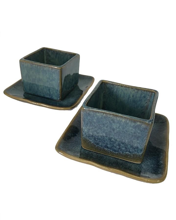 Conjunto Copo Saquê em Cerâmica Artesanal Azul 2 Unidades