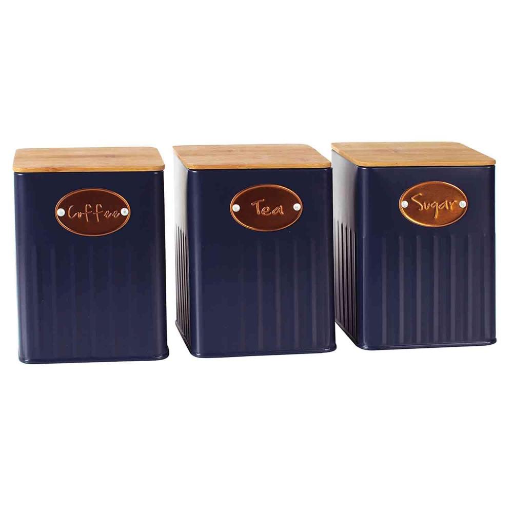 Conjunto de Porta-mantimentos Lata Azul 3 Unidades