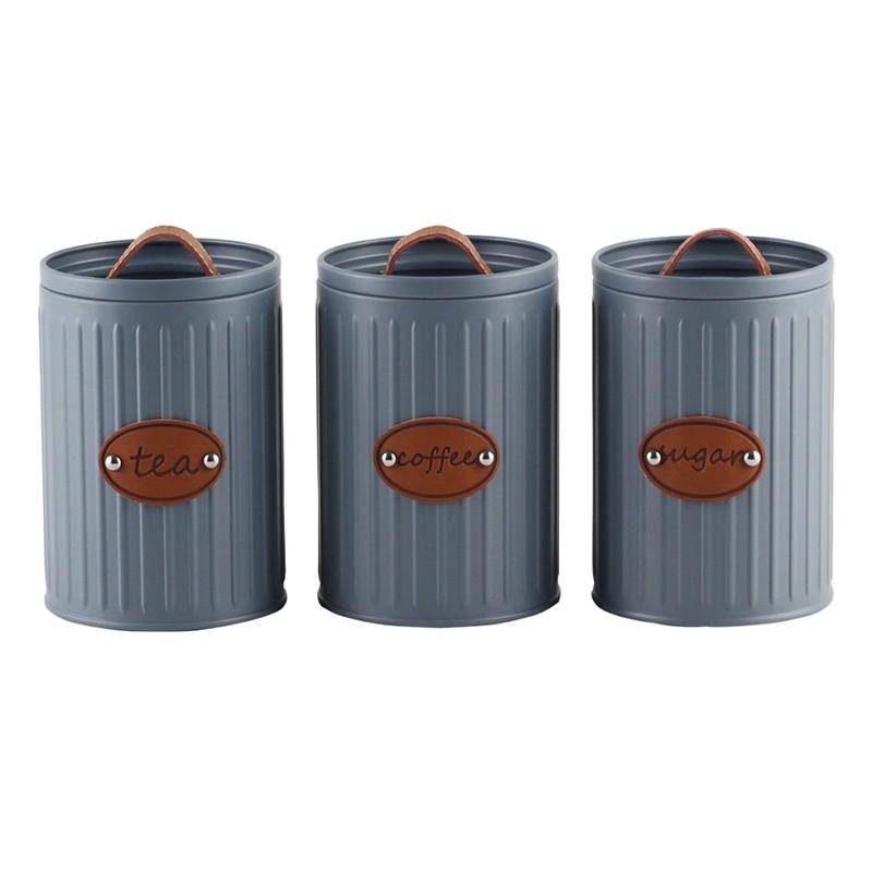 Conjunto de Porta-mantimentos Lata Cinza 3 Unidades