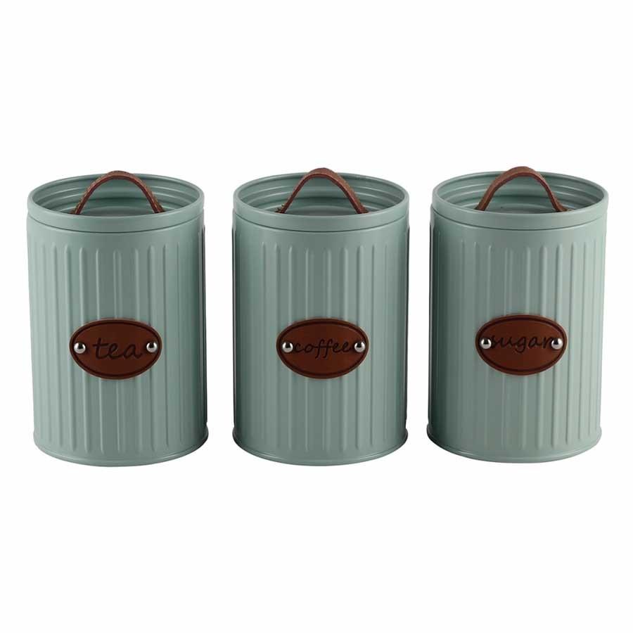 Conjunto de Porta-mantimentos Lata Verde Menta 3 Unidades