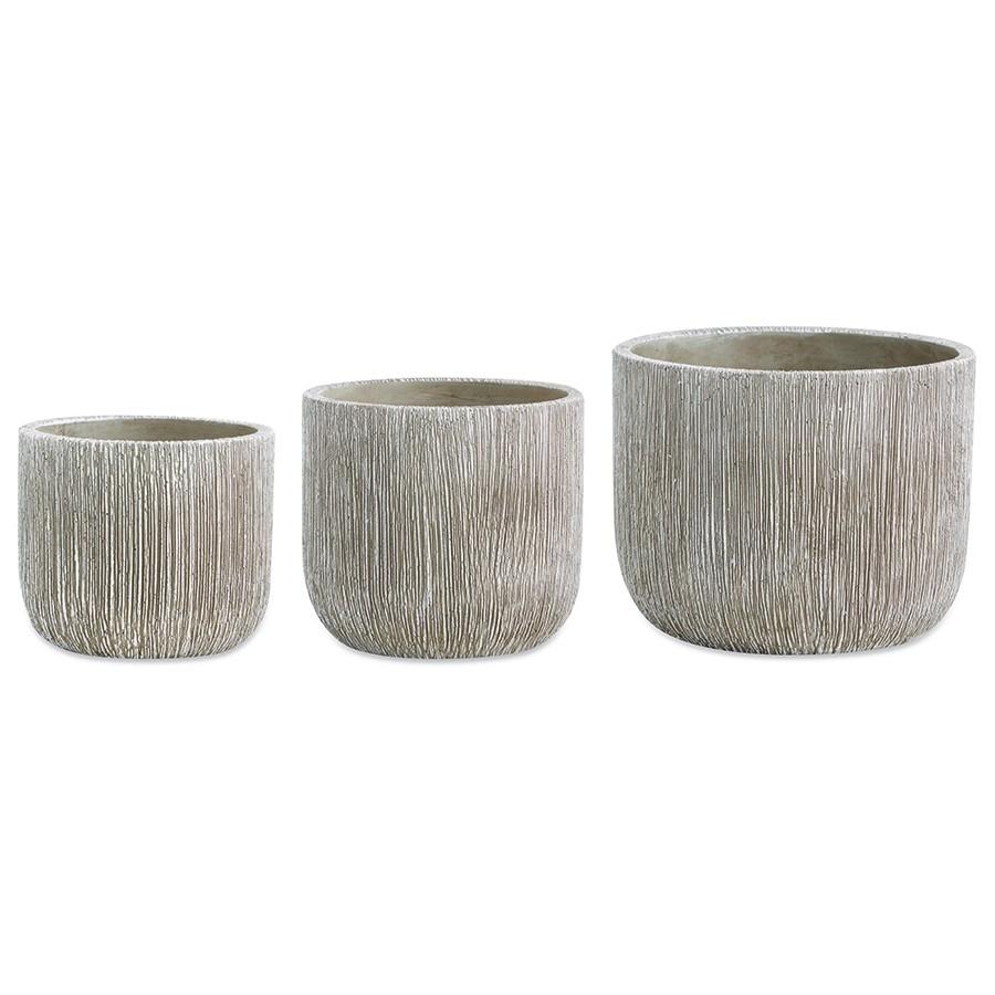 Conjunto de Vasos Cachepôs Rústicos em Cimento 3 Unidades