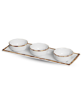 Conjunto Petisqueiras de Cerâmica Bambu 3 Unidades