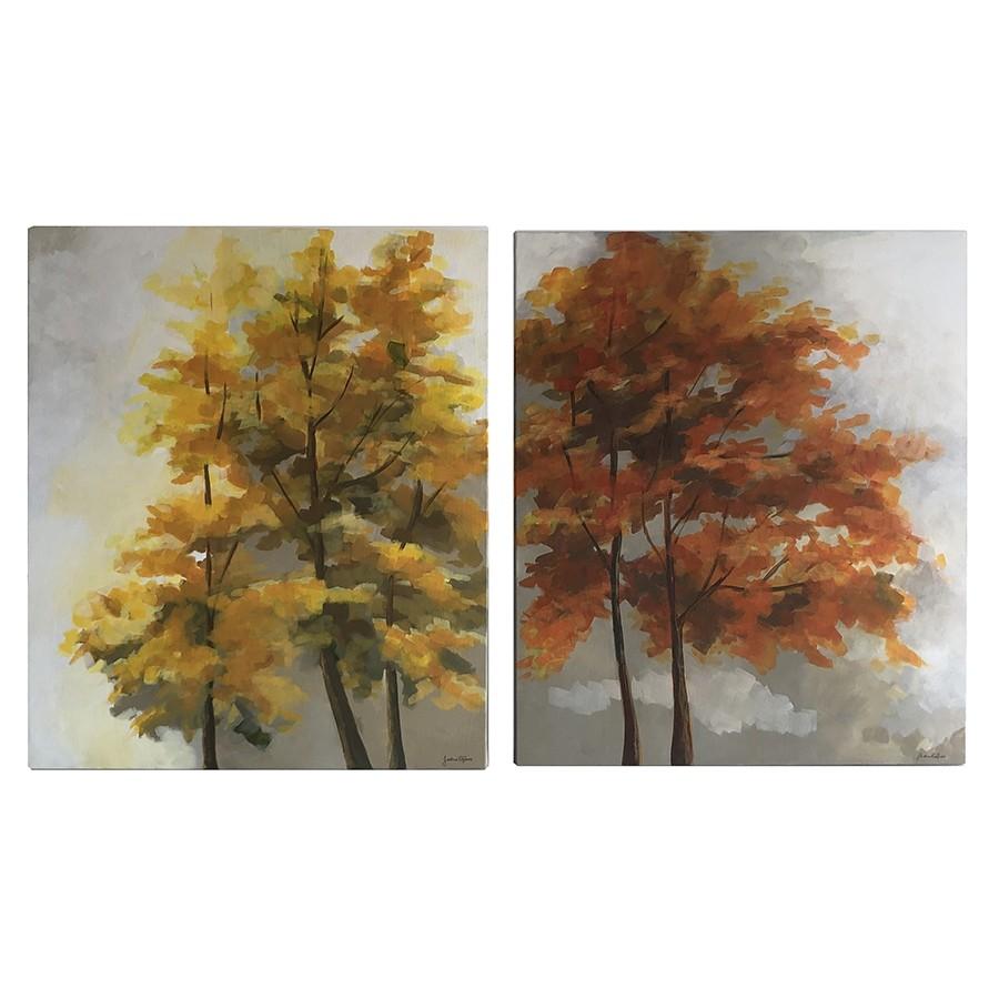 Conjunto Quadros Decorativos Pintados à Mão Árvores Coloridas 59,5x70cm