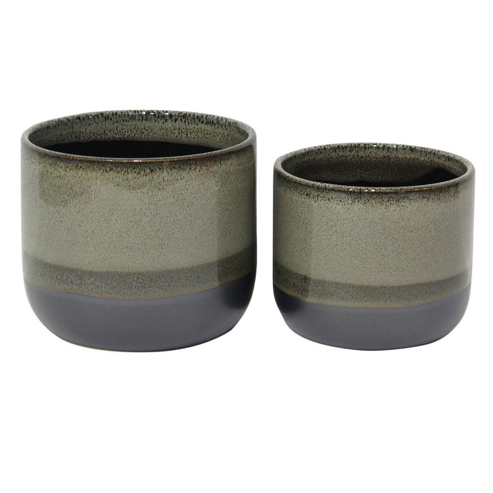 Conjunto Vaso Cachepô de Cerâmica Cinza 2 Unidades