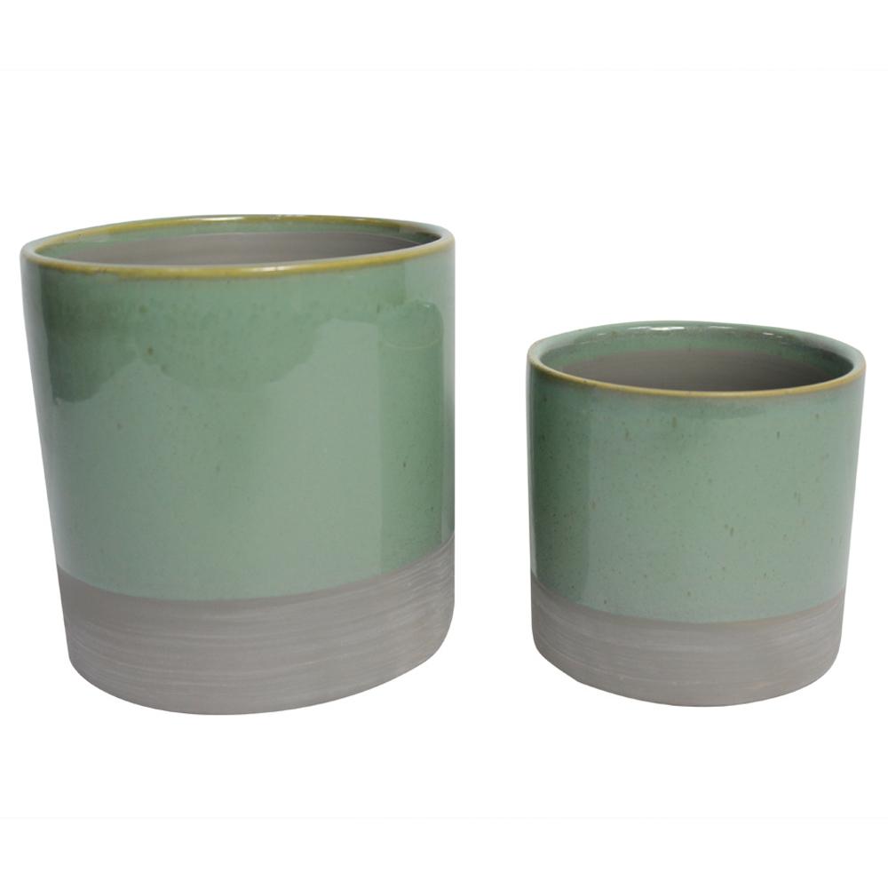 Conjunto Vaso Cachepô de Cerâmica Verde e Cinza 2 Unidades