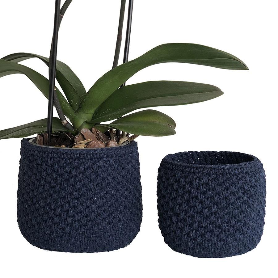 Conjunto Vaso Cachepô de Crochê Azul Marinho 2 Unidades