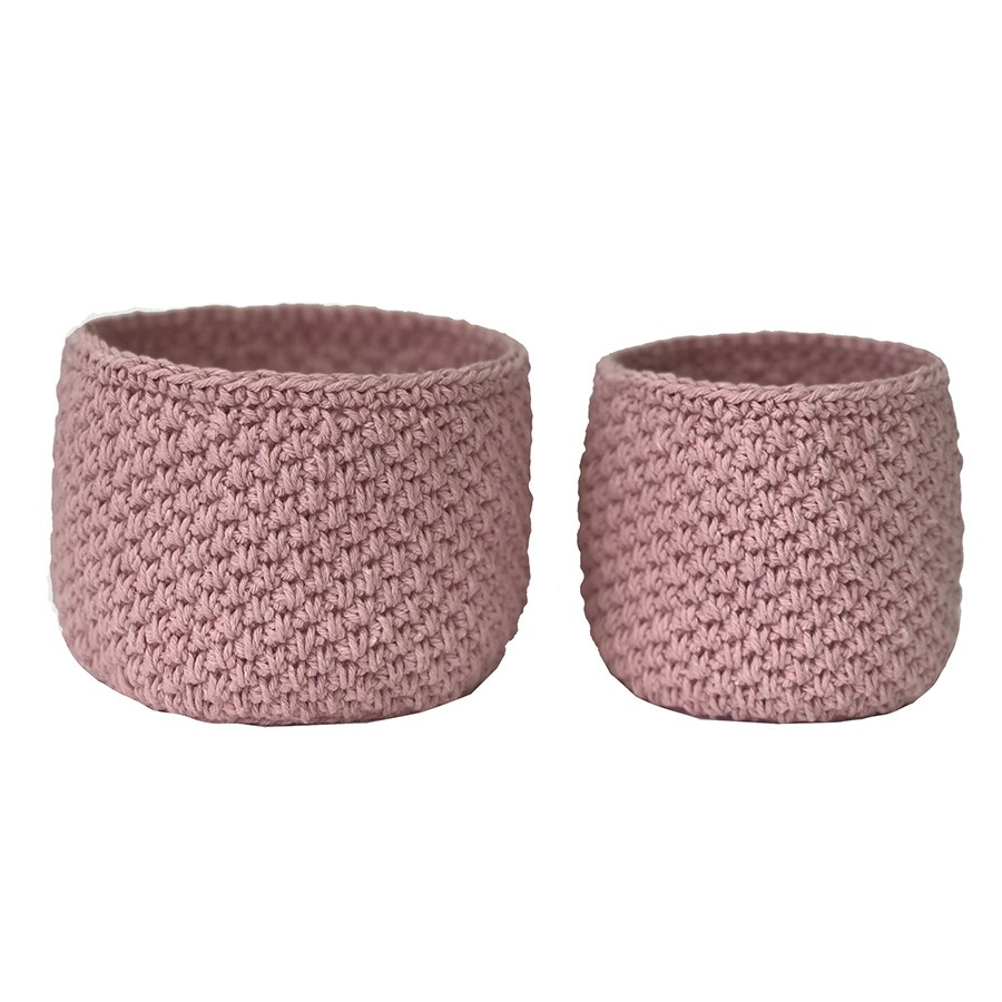 Conjunto Vaso Cachepô de Crochê Rosa 2 Unidades