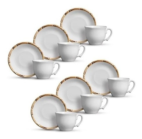 Conjunto de Xícaras de Chá com Pires Cerâmica Bambu 6 Unidades