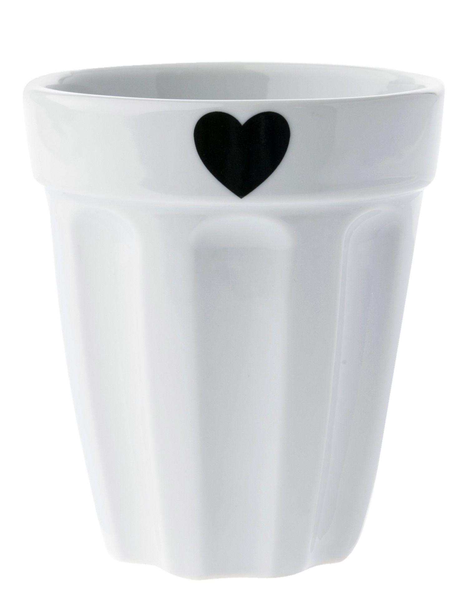Copo Canelado em Cerâmica Branco com Coração Preto