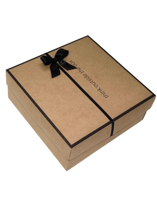 Embalagem Caixa de Presente Kraft Frase 26x26x10cm