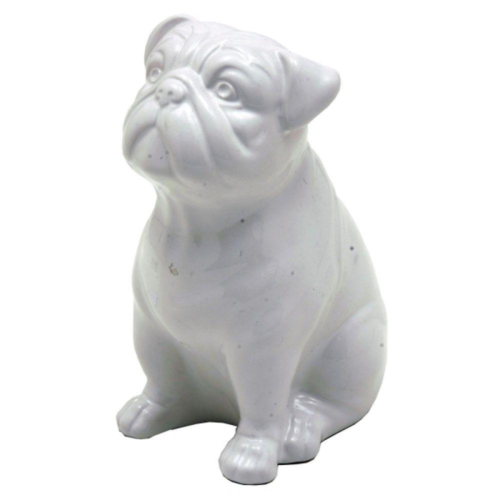 -Enfeite - Cachorro bulldog branco