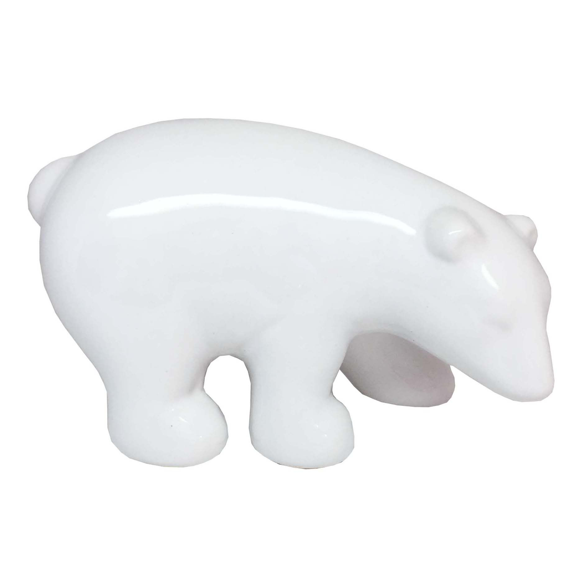 Enfeite em Cerâmica Urso Branco Grande