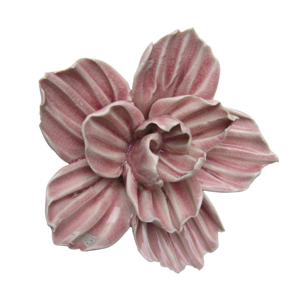 Enfeite Flor em Cerâmica Rosa Claro