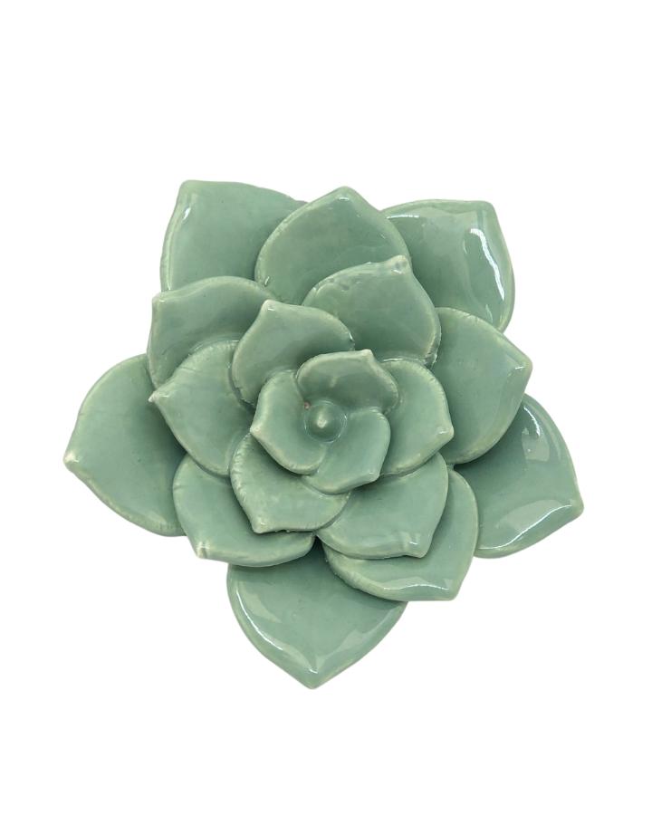 Enfeite Flor de Cerâmica Verde Claro