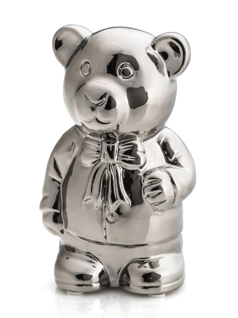 -Enfeite - Urso prata em pé