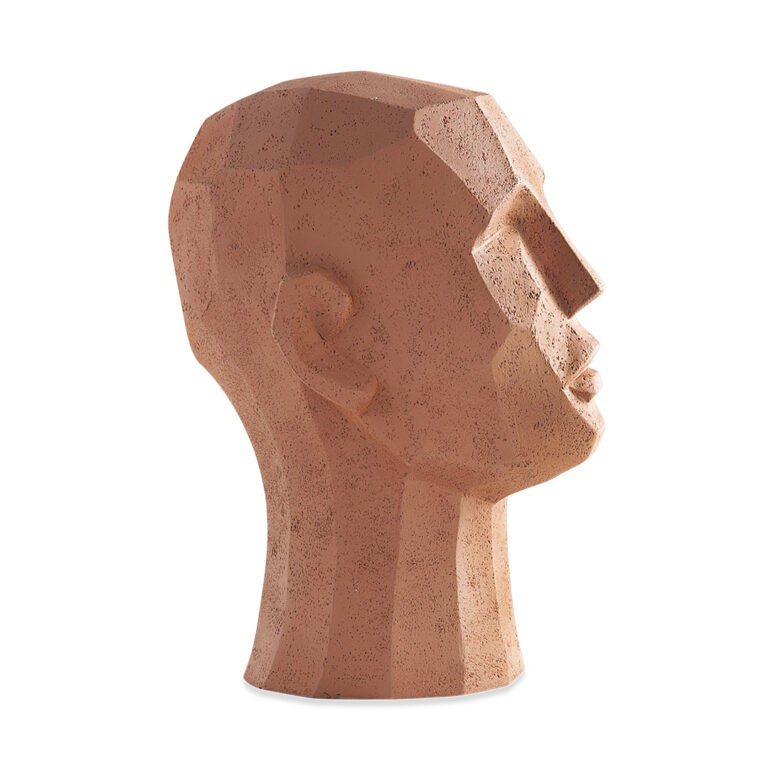 Escultura de Cabeça Rosto Terracota Grande