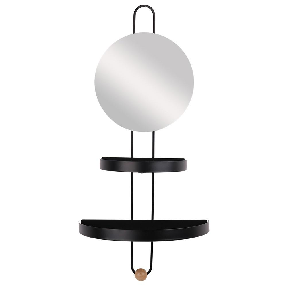 Espelho de Parede com Prateleiras e Cabideiro em Metal Preto