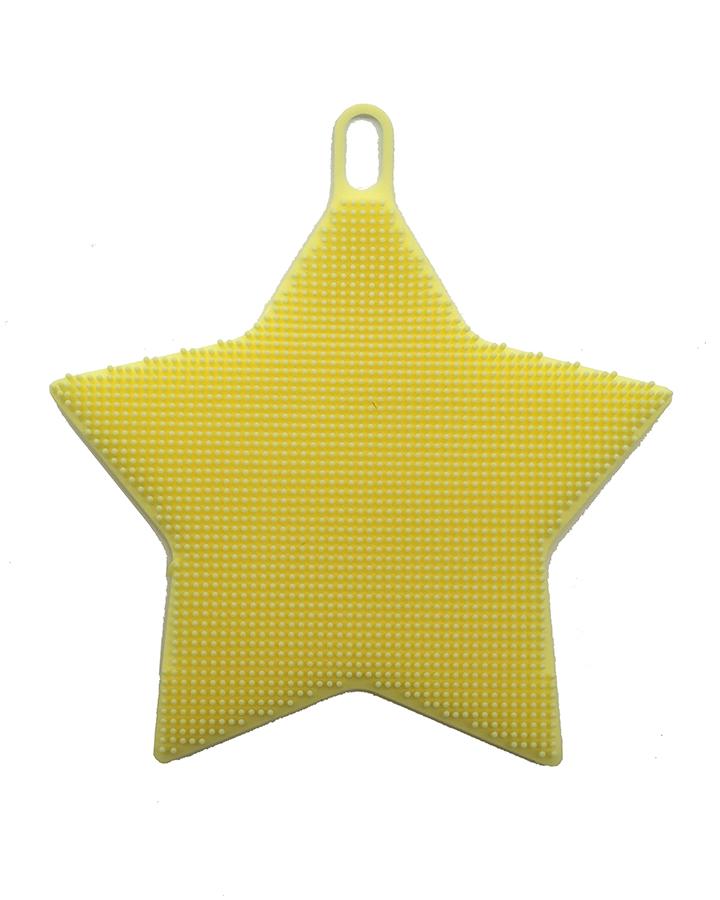 Esponja de Silicone Massageadora Amarela Estrela