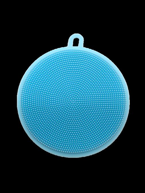 Esponja de Silicone Massageadora Azul Redonda