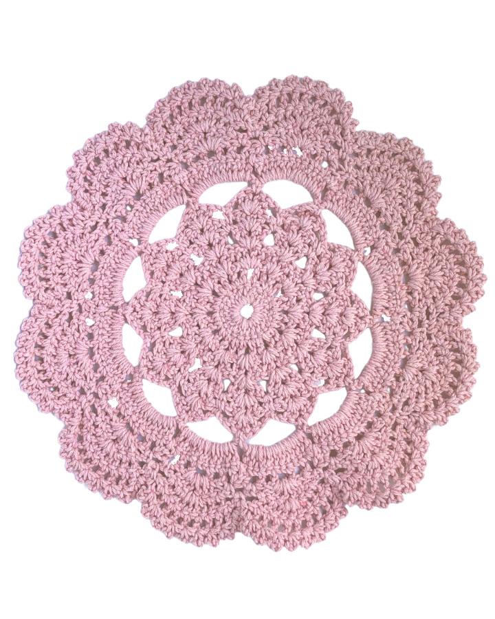 Jogo Americano de Crochê Mandala Rosa Antigo 2 unidades