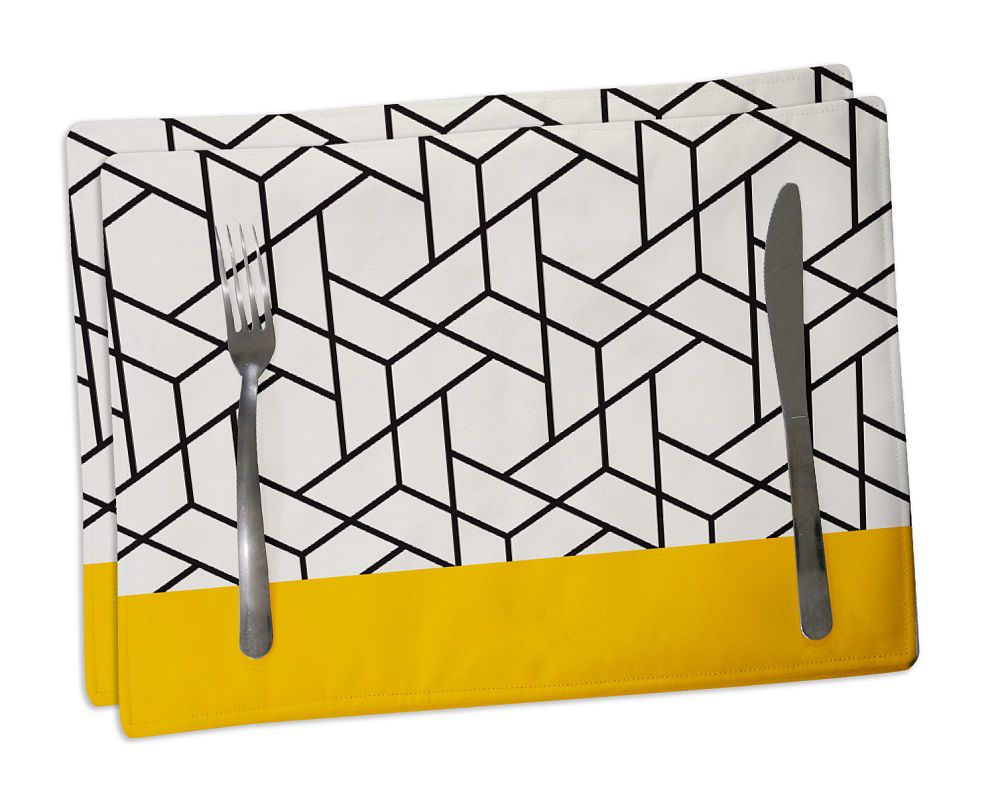 -Jogo Americano de Tecido Amarelo Geométrico 2 Unidades