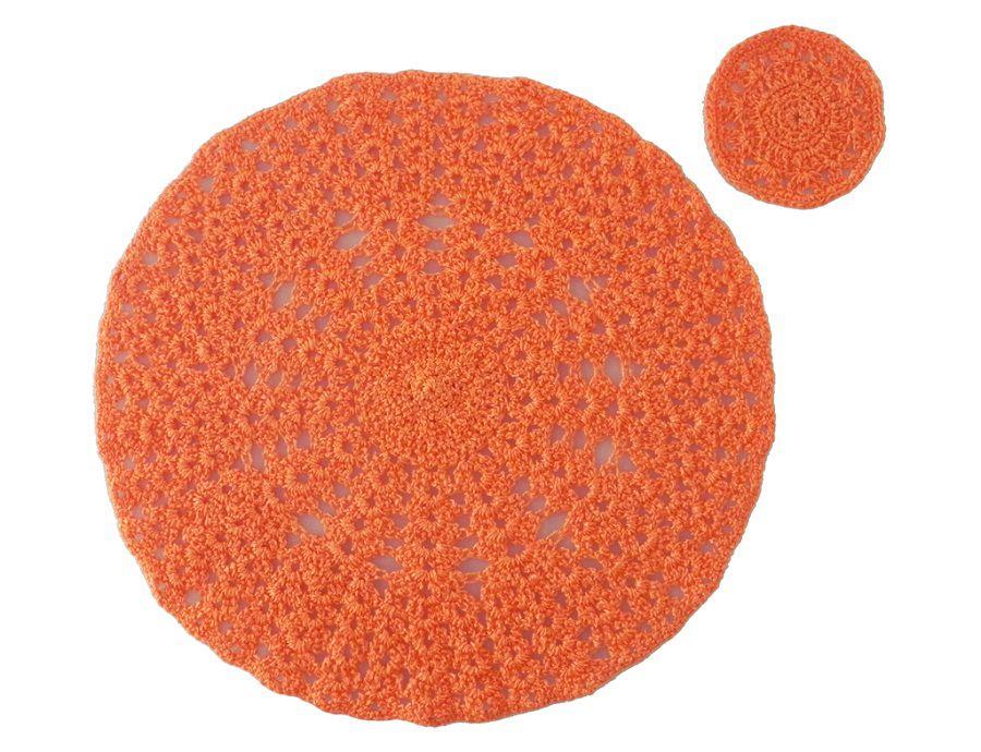 Jogo Americano e Porta-copo de Crochê Redondo Laranja 2 unidades