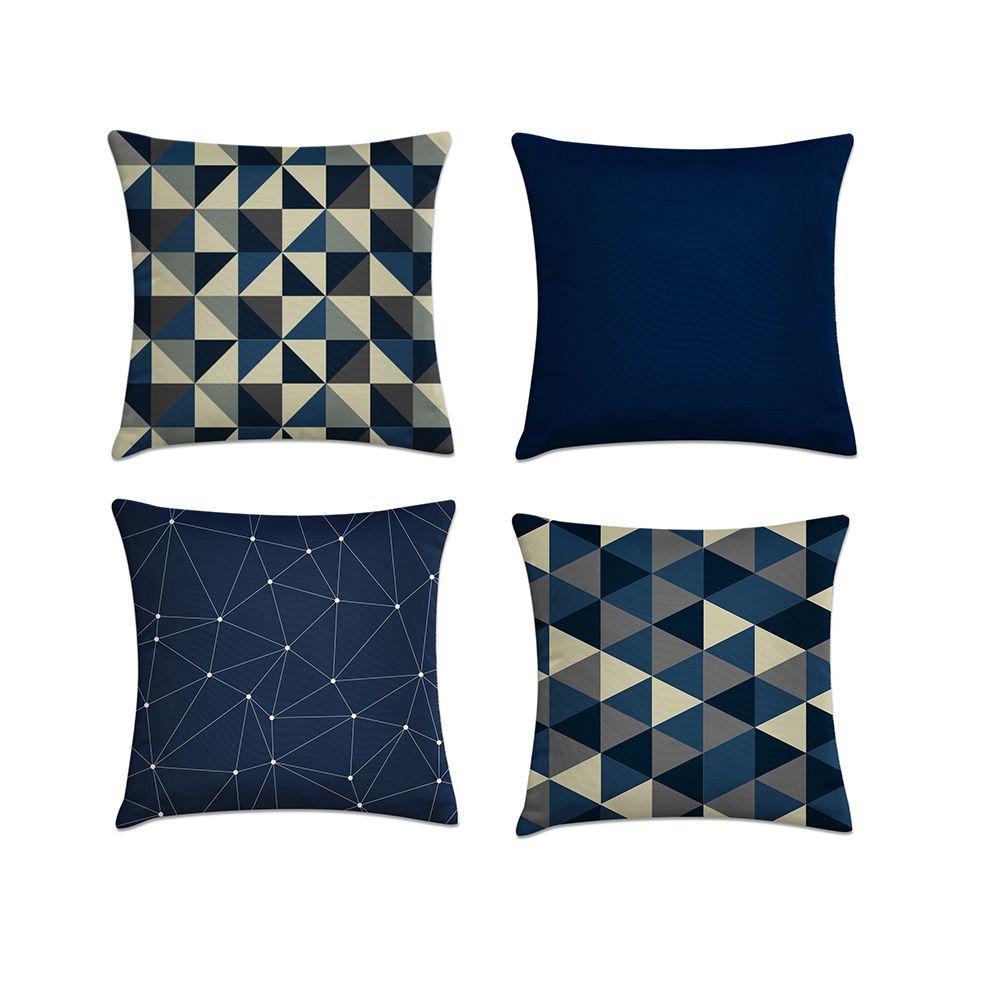 Kit 4 Almofadas Decorativas Cheias Azul Geométrico Com Zíper 40x40cm